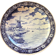 Vintage BOCH Delfts Blue and White Porcelain 15 1/2 Inches Charger Wall Hanging Plate Windmill River