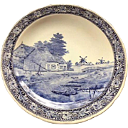 Vintage Royal Sphinx BOCH Delfts Blue & White Porcelain 15 1/2 Inches Charger Wall Hanging Plate Farm Scene with Cows on Canal #2