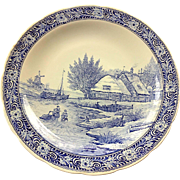 Vintage Royal Sphinx BOCH Delfts Blue & White Porcelain 15 1/2 Inches Charger Wall Hanging Plate Farm Scene with Skaters Canal #3