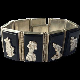 "Vintage Black Onyx & Silver Bracelet Signed Figural Excellent Condition 6.5"""