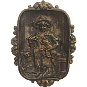 Antique Figural Bronze Calling or Receiving Card Tray, Dog, Cat, Lobster Fishing Creel - Fabulous Detail