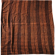 "Vintage 1920s Chase Mohair Lap Blanket Halloween Colors Orange Black Plaid Sz 62"" x 45"""
