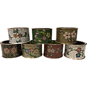 Beautiful Old Set of 7 Vintage Asian China Cloisonne Napkins Rings