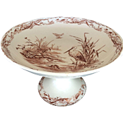 Vtg Brown Osborne or Heron Transferware Compote 1879,  T Elsmore Sons, Tunstall
