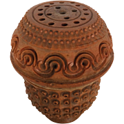 19th Century Carved & Perforated Coquilla Nut Pounce Pot or Spice Shaker 1850-1899