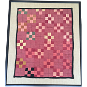 Antique Vintage Doll Quilt Circa 1900's Framed Primitive Design Framed