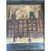 Vintage Original Dutch Oil Painting Of A Snowy Canal Scene Of Dutch Houses