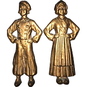 Vintage Cast Iron Figural Andirons Dutch Boy and Girl Front No Back Stands or Legs