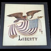 Vintage Americana Patriotic Folk Art Painting Eagle Holding American Flag