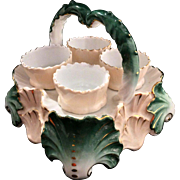 Vintage Porcelain Eggcup Set With Carrier Color Pink Green White & Gold Accents