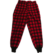 Vintage New Tags Woolrich wool Red Black Buffalo Plaid Hunting Men's Pants Knit Cuffs Sz 32 X 32