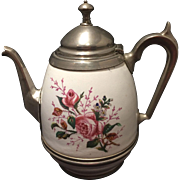 Vintage Graniteware or Enamelware Pewter Coffee Tea Pot Rose Decoration
