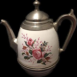 Vintage Graniteware or Enamelware Pewter Coffee Tea Pot Rose Decoration