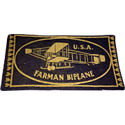 "1910 Aviation Airplane Farman Biplane USA Felt Tobacco Advertising 5.75"" X 3"""