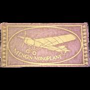 "1910 Aviation Airplane Mengin Monoplane USA Felt Tobacco Advertising 5.75"" X 3"""