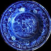 Antique Flow Blue Staffordshire Don Quixote Plate The Meeting of Sancho & Dapple