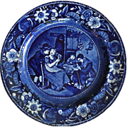 Antique Staffordshire Dark Blue Plate Wilkie Designs Christmas Eve 1820's