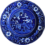 "Antique Staffordshire Dark Blue Plate Wilkie Designs ""The Valentine"" 1820's"