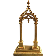 19th Century Brass GOTHIC REVIVAL Pocket Watch Stand or Holder