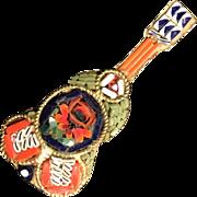 Vintage Guitar Pin Brooch Micro Mosaic Floral Design Pin 1950's