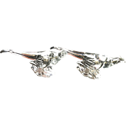 Heisey Glass Co. Pair of Crystal Ring Neck Pheasants,  Clear Glass Ring Neck Pheasant Figurines Set of 2