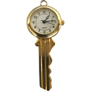 Vintage Key Pendant with Quartz Watch Swiss Ebauches Highly Polished Brass Stainless Back