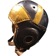 Authentic American 1940's Leather Football Helmet Black and Yellow or Gold, Nice