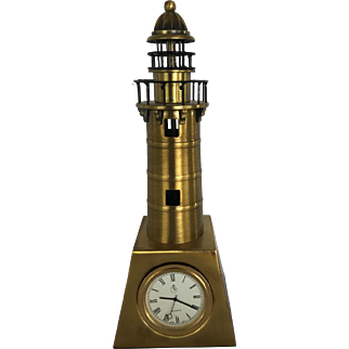 Vintage Miniature Desktop Lighthouse with Quartz Clock Brass Tone Metal with Stainless Back