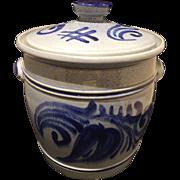Vintage Signed Marzi & Remy Rumtopf Salt Glaze Blue Crock Jar W / Lid 5 Quart