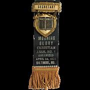 Vintage 1924 Morning Glory Christian Assn No. 1 Baltimore Secretary Pin Ribbon