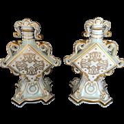 Vintage Hand Painted Pair of KPM RPM (Royal Porzellan Manufaktur) Urns Early