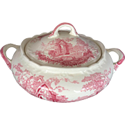 Vintage Taylor & Smith English Abbey 40's Red Transferware Tureen Excellent Condition