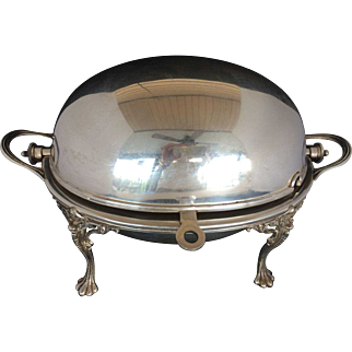 Vintage Fenton Brothers Ltd Silverplate Revolving Dome Serving Dish Bowl