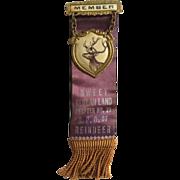 Vintage 1920's BPO of Reindeer BPOR, Benevolent Protective Order of Reindeer, Member Pin Ribbon