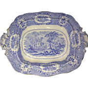 """Antique Ridgway Oriental Blue White Transferware 11"""" Oval Footed Vegetable Bowl"""