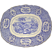 Antique Ridgway Oriental Blue & White Transferware 13 Inch Oval Serving Platter