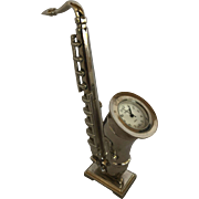 Vintage Miniature Desk Saxophone with Quartz Clock Silver Tone Stainless Back