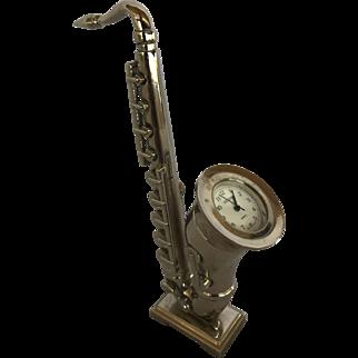 Vintage Miniature Desk Saxophone with Quartz Clock Silver Tone Stainless Back