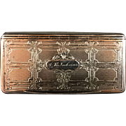 Vintage Silverplate Snuff Box Ornate Engraved Circa 1900's