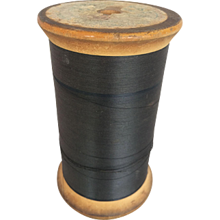 Vintage Large Wooden Spool American Thread Co. with Yarn Spool 5 3/4 inches Tall