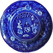 Antique Flow Blue Staffordshire Don Quixote Plate Sancho Panza Debate W /Teresa