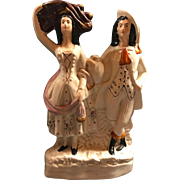 Antique Authentic Circa 1870 Staffordshire figurine, Known as The Harvest Couple or The Faggot Gatherers