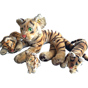 "Vintage Auth Steiff Tiger Family, Large 24"" & 3 Baby Tigers Mohair Glass Eyes"