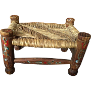Vintage Rush Seat PRIMITIVE STOOL American Folk Art Pegged Hand Carved Spindles
