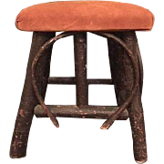 Vintage Natural Bent Wood Willow Hickory Twig Stool Adirondack Rustic Primitive