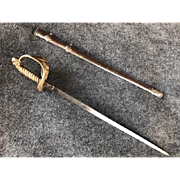 Vintage 19th Century Signed Ornate Sword or Saber Letter Opener with Silverplate Sheath or Scabbard - Red Tag Sale Item