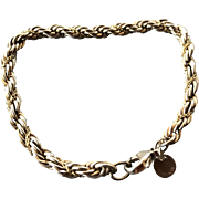 Tiffany & Co. Sterling Silver and 18K Gold Rope Bracelet Marked Tiffany 925 & 750 Authentic