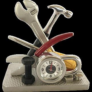 Vintage Miniature Tool Collection Plier, Hammer, Padlock Desktop Timex Quartz Clock