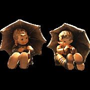 Pair Hummel Goebel Umbrella Boy & Girl  TMK5 1972 - 1979,  5 Inches Tall,  # 150 / 0A & 0B