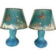 "Vintage Pair Van Briggle Pottery Lotus Lamps & Butterfly Shades Ming Blue 15"" Tall"